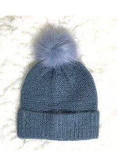 Blue Beanie with Pom