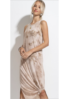 Cloudy Tie Dye Dress Taupe