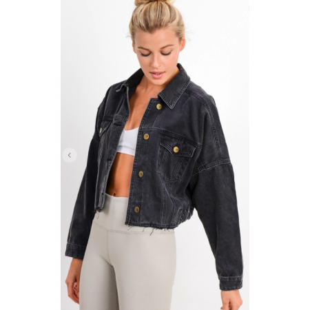 Cropped Denim Jacket (washed black)