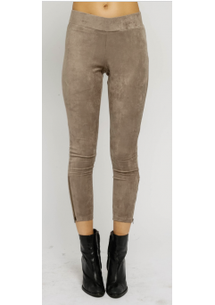 Faux Suede Leggings Khaki