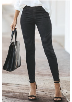 Moto Leggings Black Washed