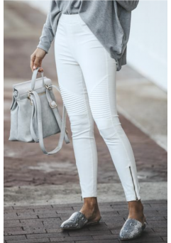 Moto Leggings White