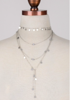 Silver Circle Multi Strand Necklace