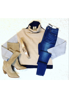 Tighe Sweater Taupe/Grey/Navy