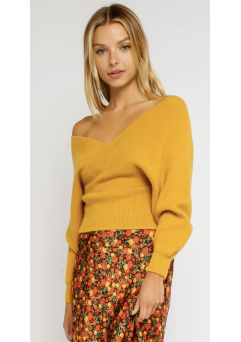 Give Em A Little Shoulder Sweater (yellow)